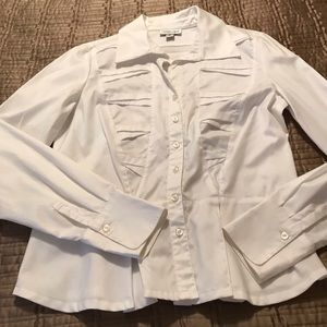 Crisp. white button-down blouse by Coldwater Creek
